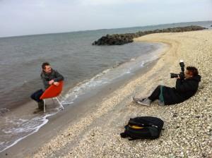 Fotografering af Hee Welling på Løgstør Strand af Betina Fleron Hede